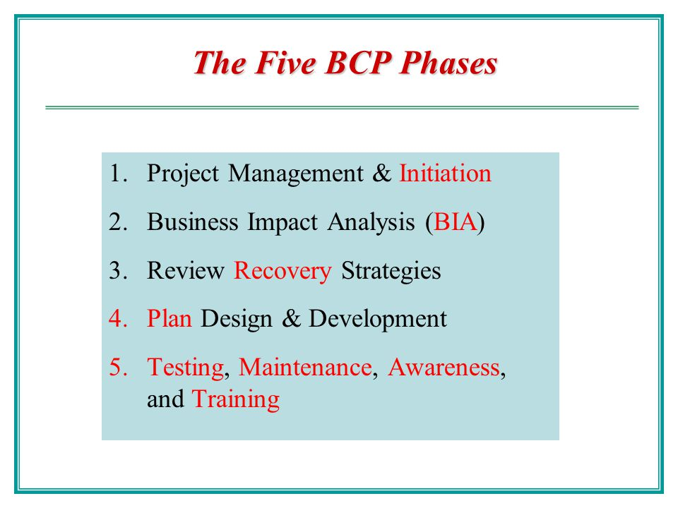 The Five BCP Phases Project Management & Initiation
