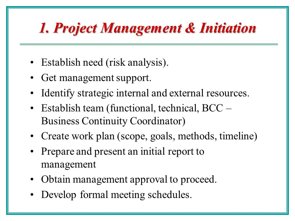 1. Project Management & Initiation
