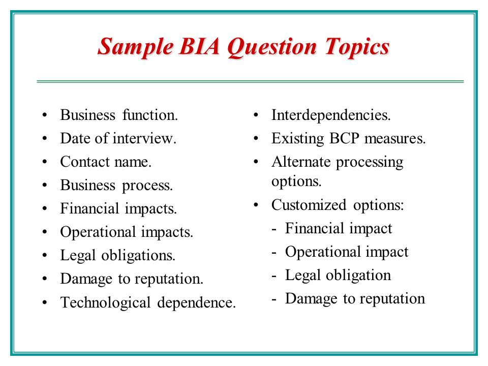 Sample BIA Question Topics