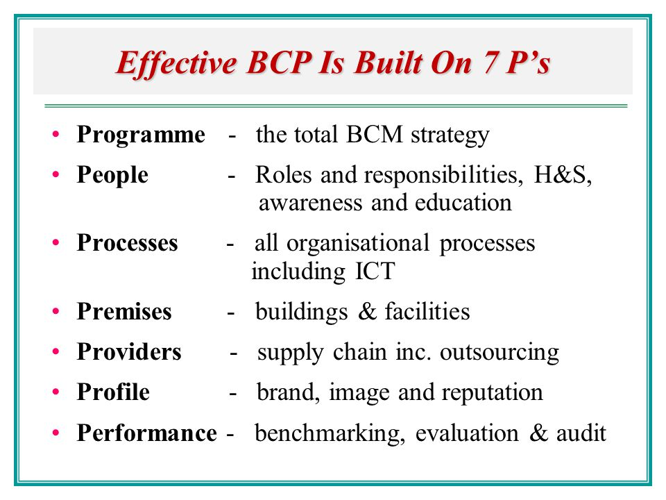 Effective BCP Is Built On 7 P's