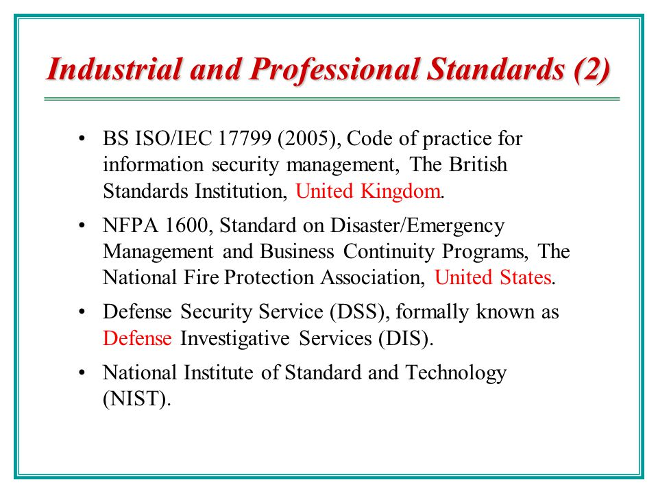 Industrial and Professional Standards (2)
