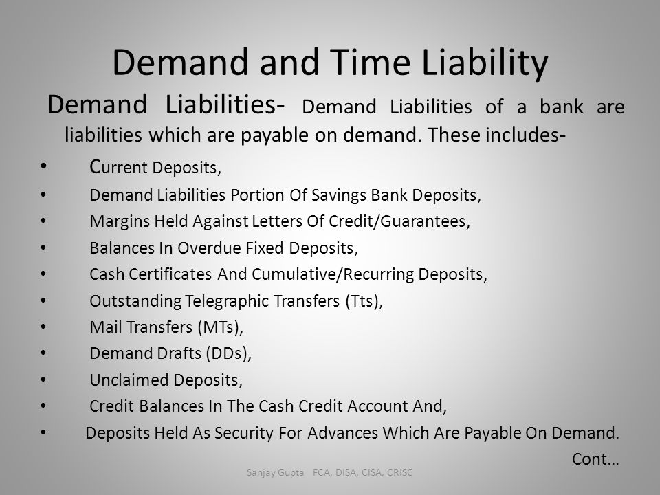 Demand and Time Liability