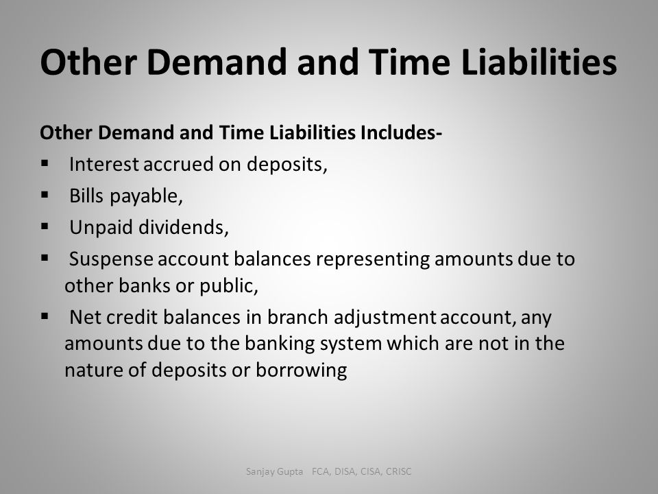 Other Demand and Time Liabilities