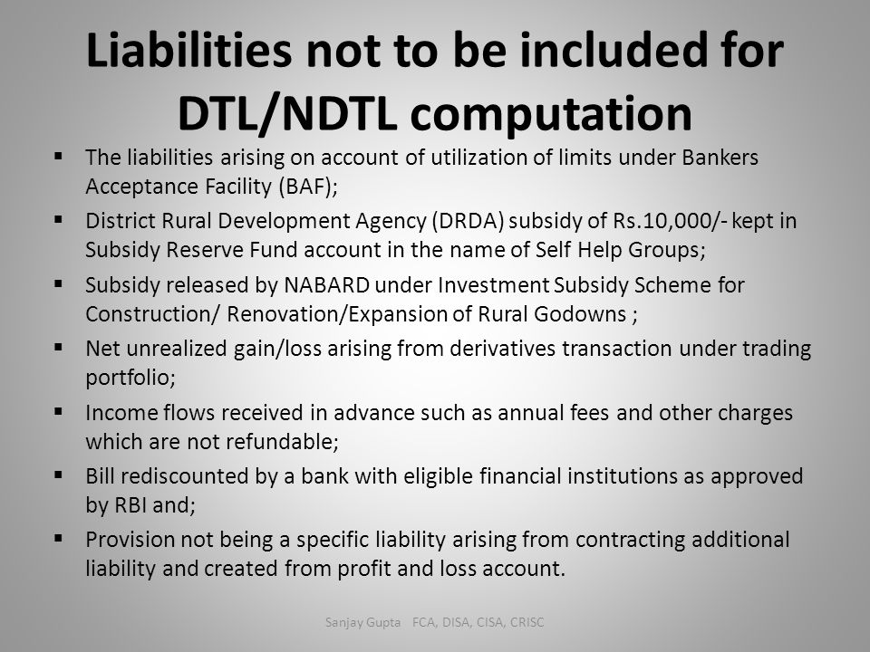 Liabilities not to be included for DTL/NDTL computation