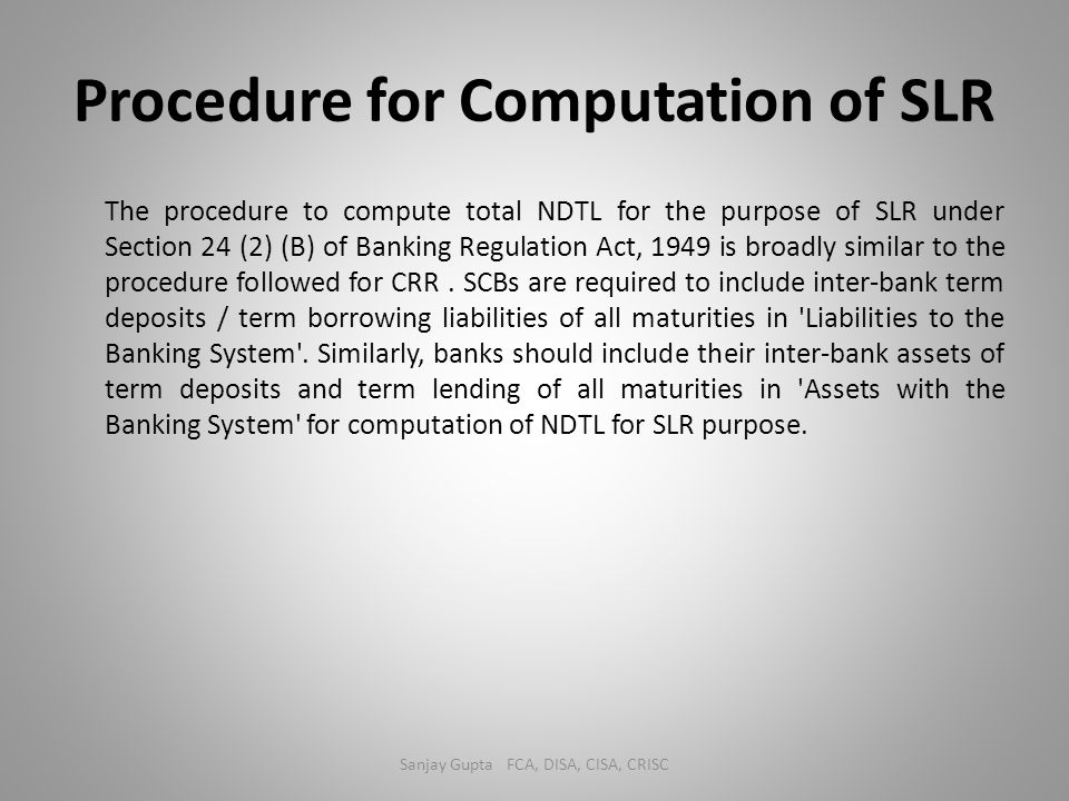 Procedure for Computation of SLR