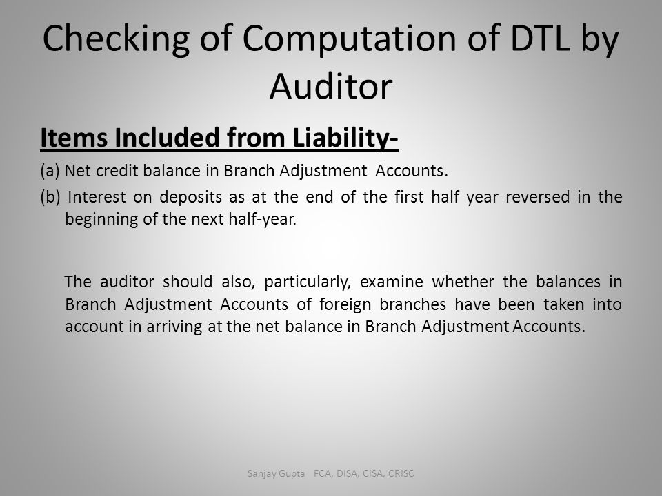 Checking of Computation of DTL by Auditor