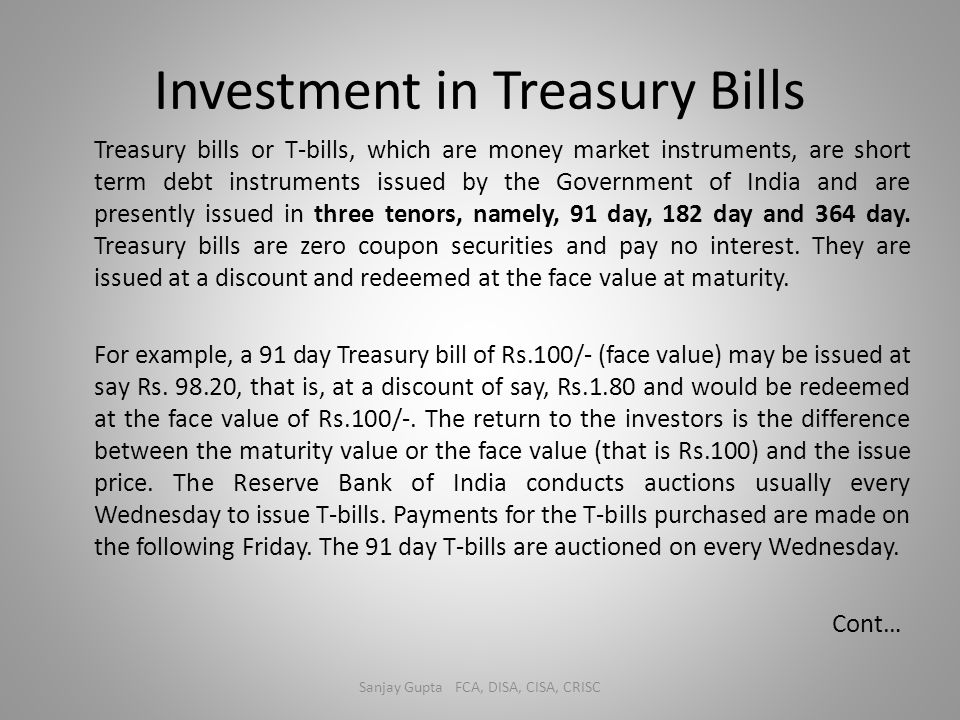 Investment in Treasury Bills