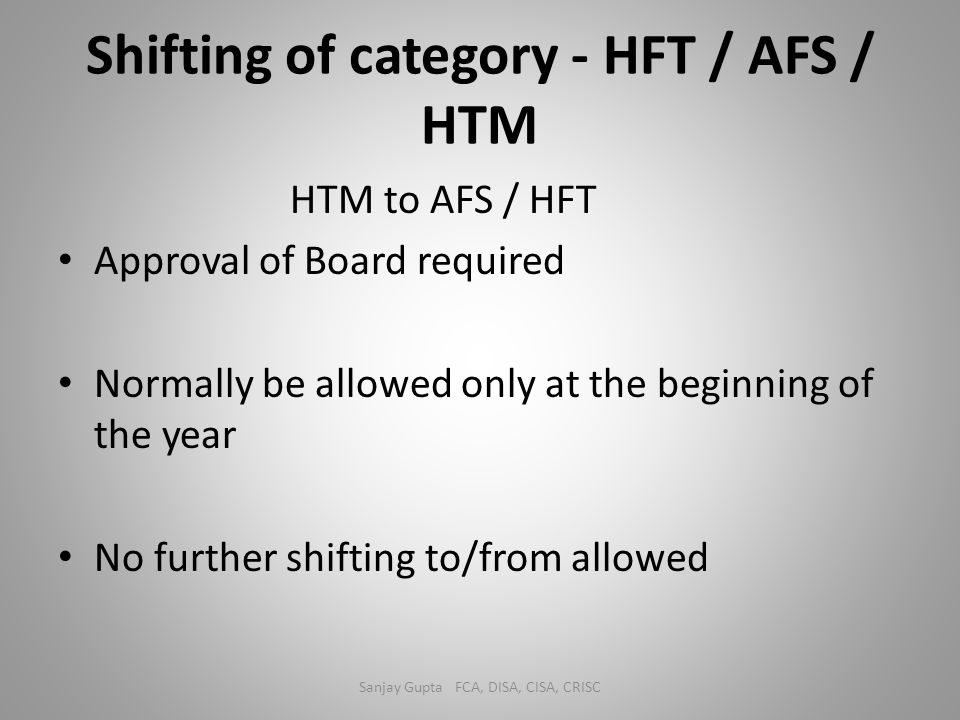 Shifting of category - HFT / AFS / HTM
