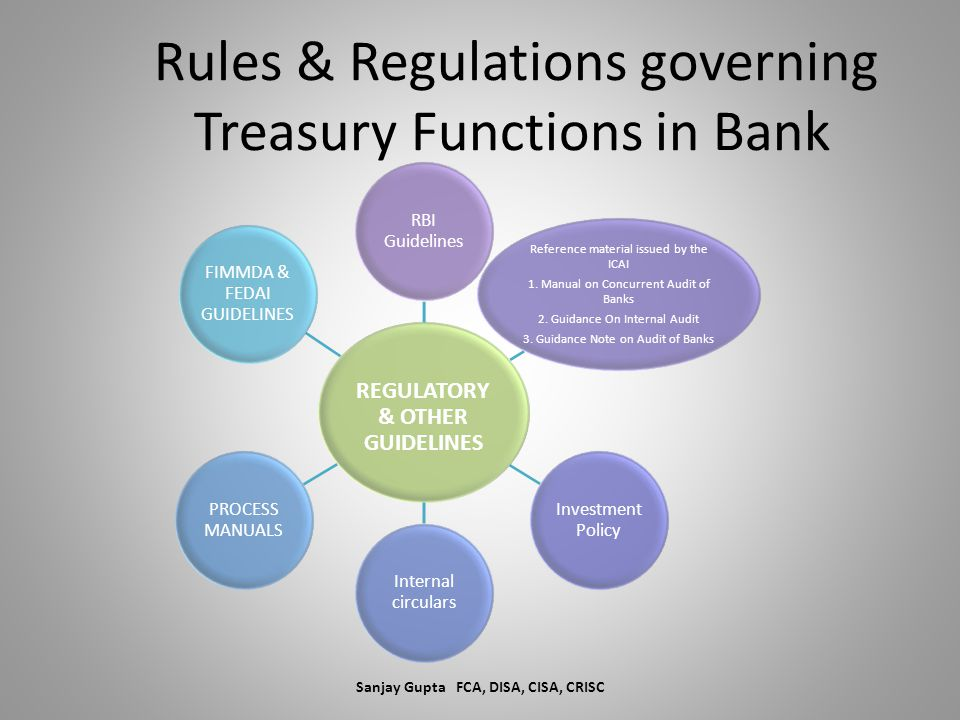Rules & Regulations governing Treasury Functions in Bank