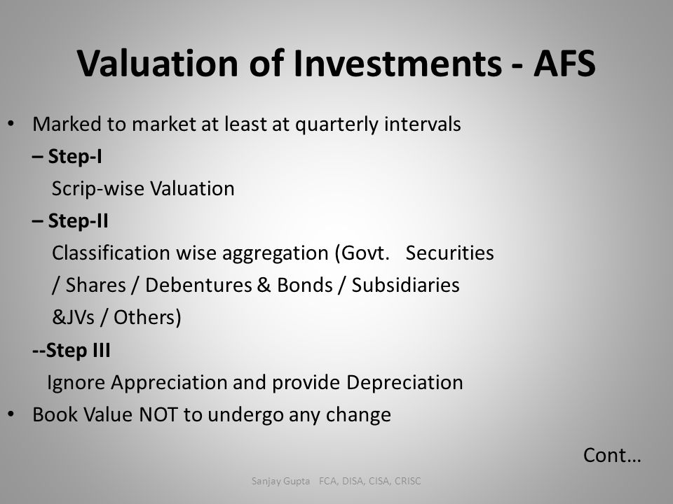 Valuation of Investments - AFS