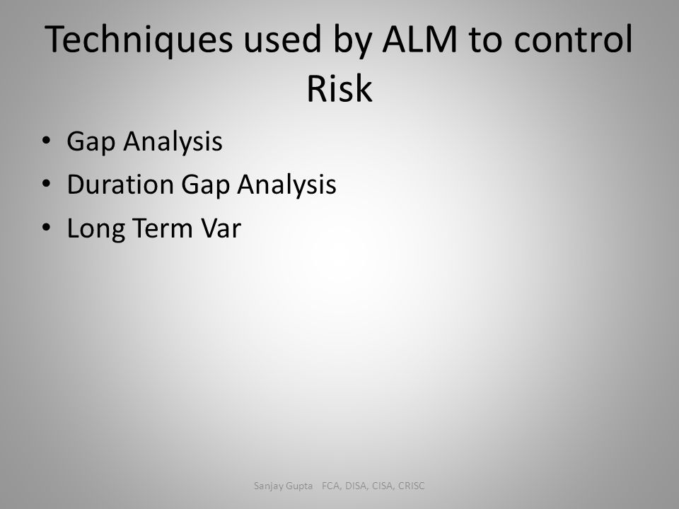 Techniques used by ALM to control Risk