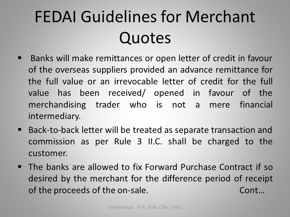 FEDAI Guidelines for Merchant Quotes