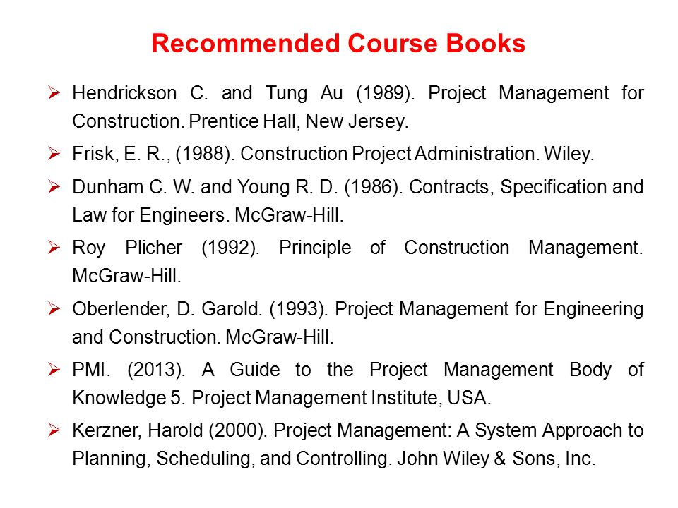 Recommended Course Books