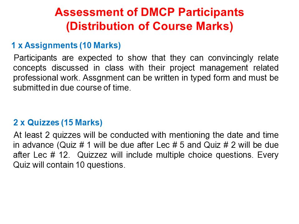 Assessment of DMCP Participants (Distribution of Course Marks)