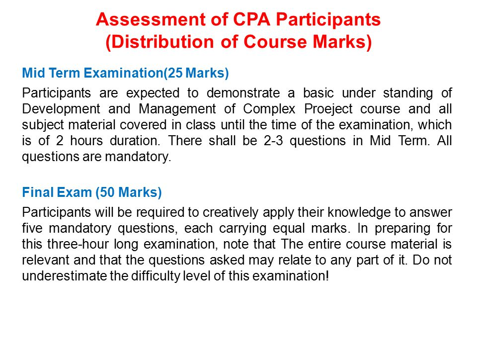 Assessment of CPA Participants (Distribution of Course Marks)