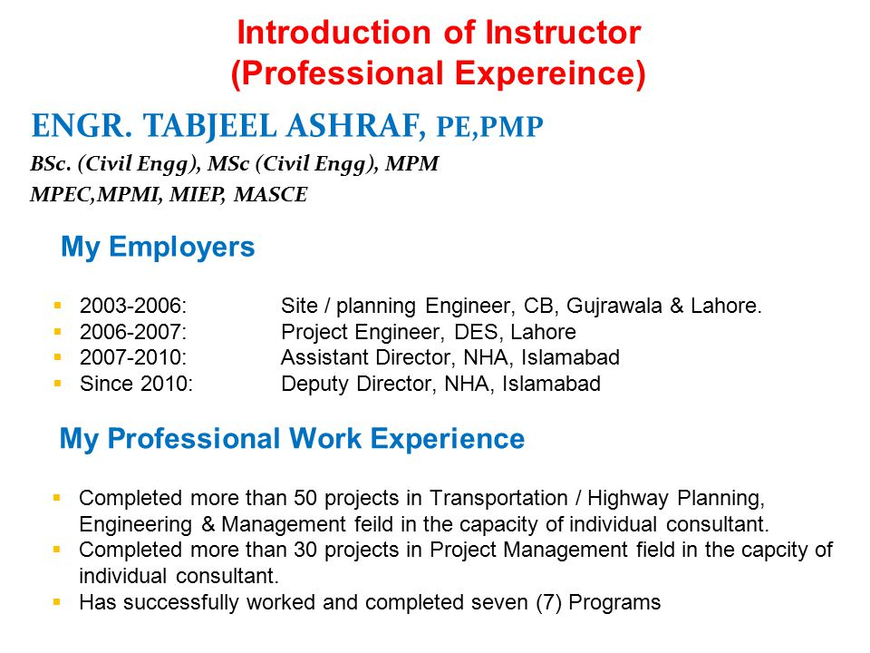 Introduction of Instructor (Professional Expereince)