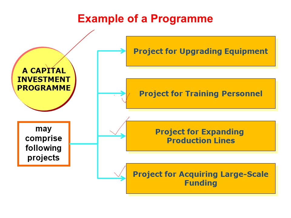Example of a Programme may comprise following projects