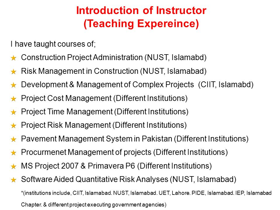 Introduction of Instructor (Teaching Expereince)
