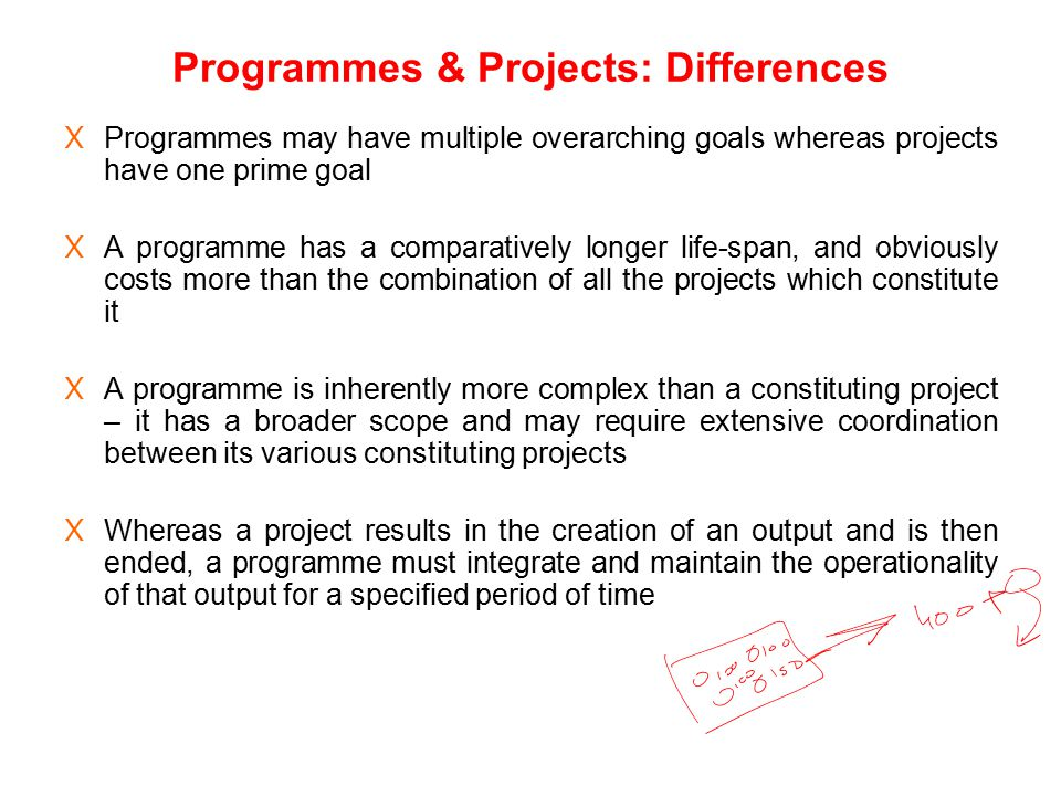Programmes & Projects: Differences