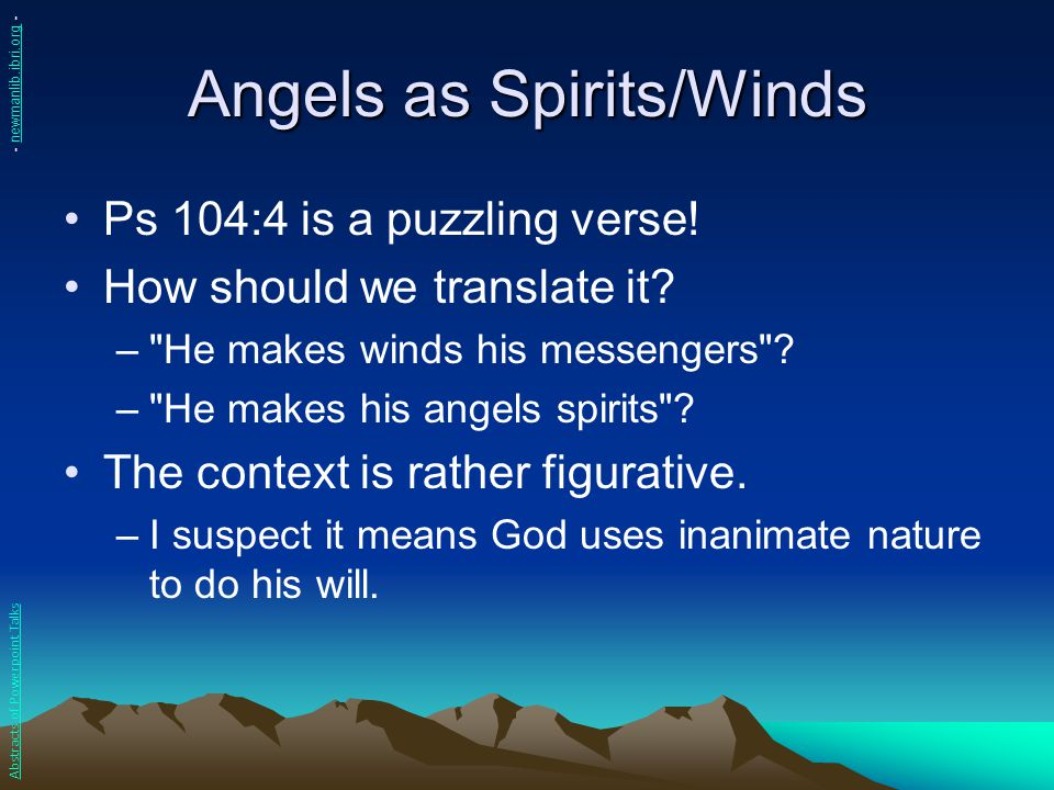 Angels as Spirits/Winds