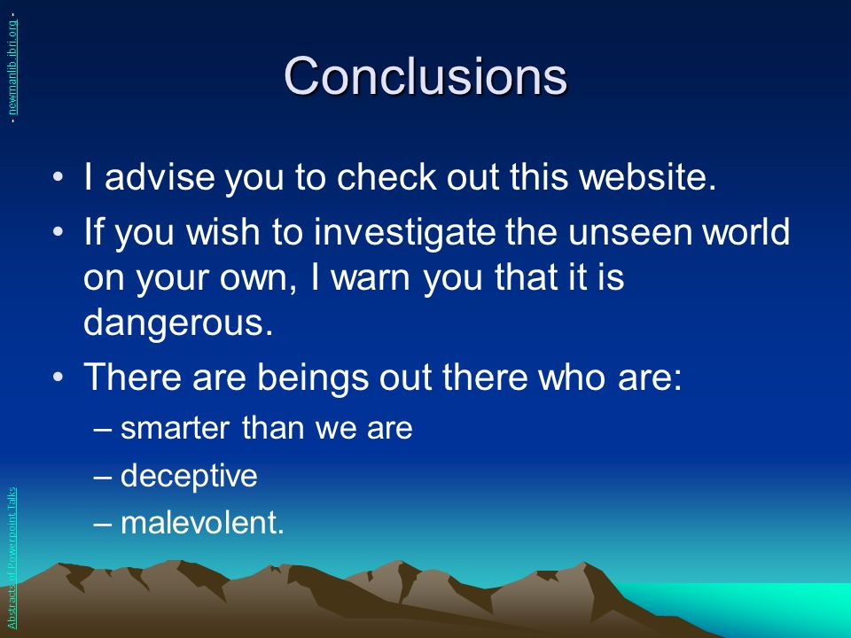 Conclusions I advise you to check out this website.