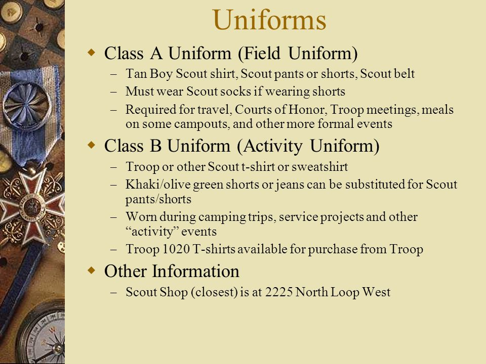 Uniforms Class A Uniform (Field Uniform)