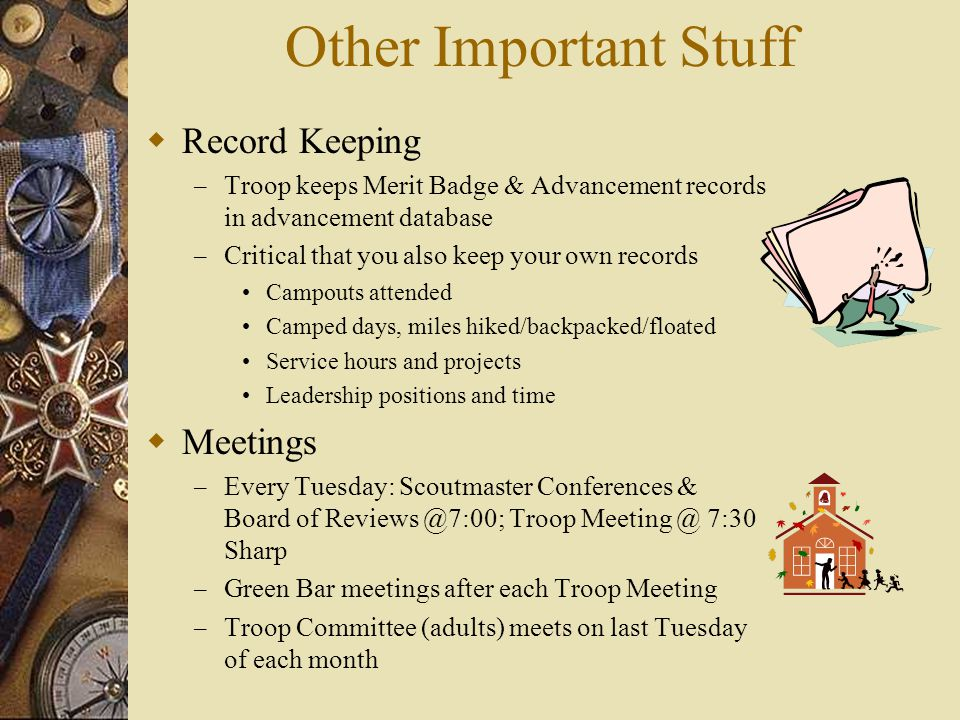 Other Important Stuff Record Keeping Meetings