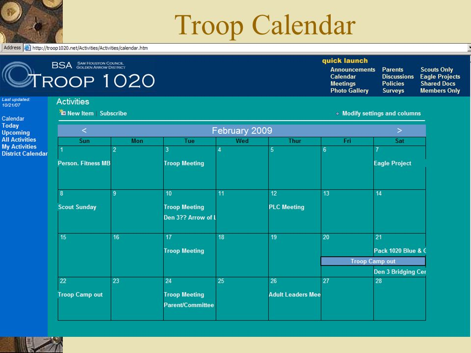 Troop Calendar