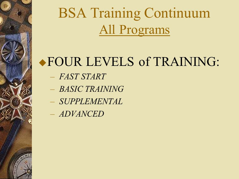 BSA Training Continuum All Programs