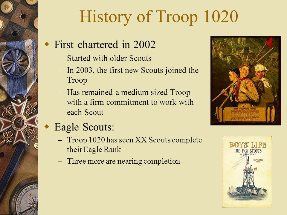History of Troop 1020 First chartered in 2002 Eagle Scouts: