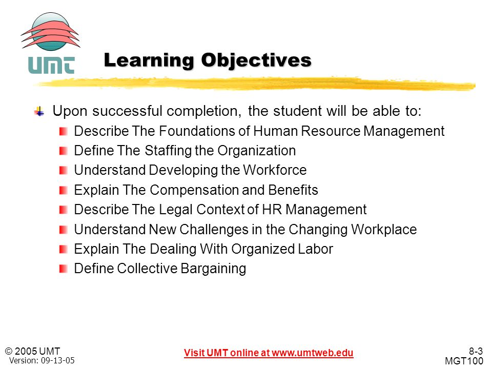 Learning Objectives Upon successful completion, the student will be able to: Describe The Foundations of Human Resource Management.