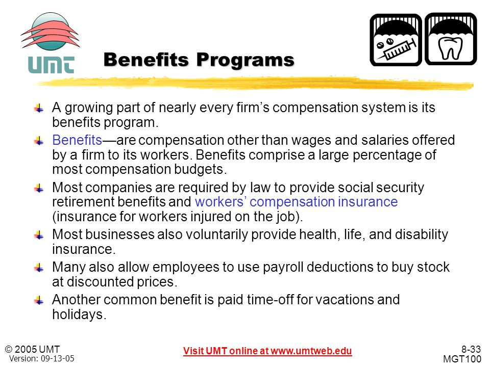 Benefits Programs A growing part of nearly every firm's compensation system is its benefits program.