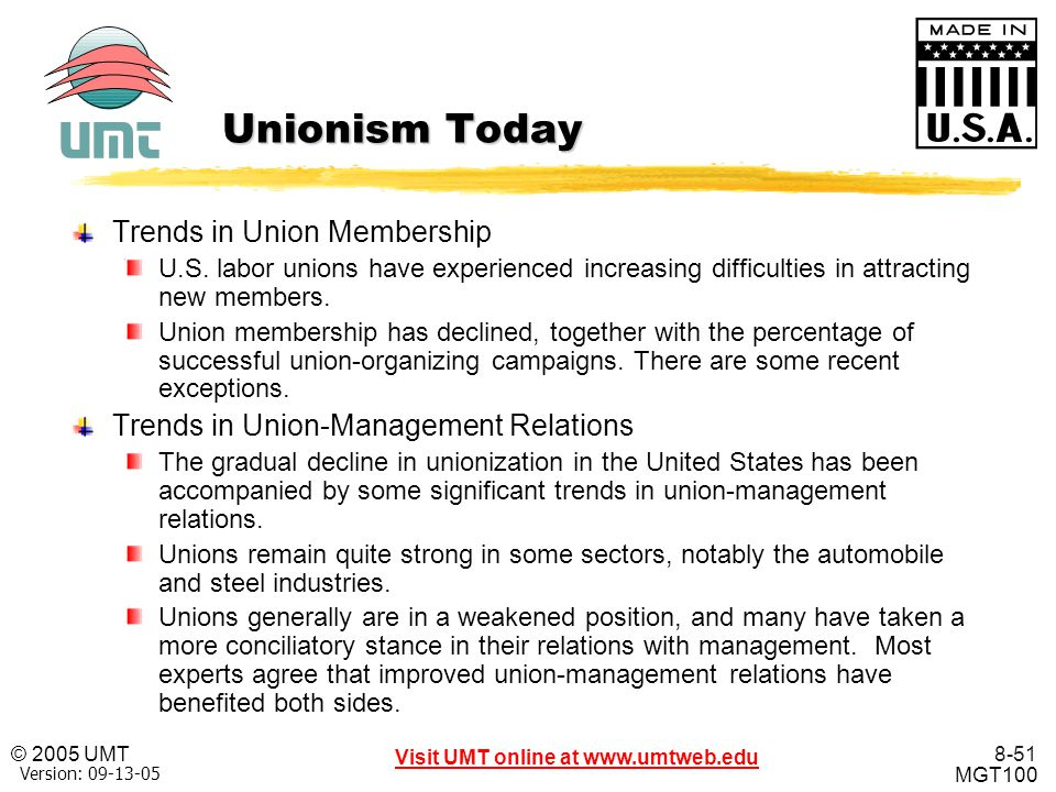 Unionism Today Trends in Union Membership