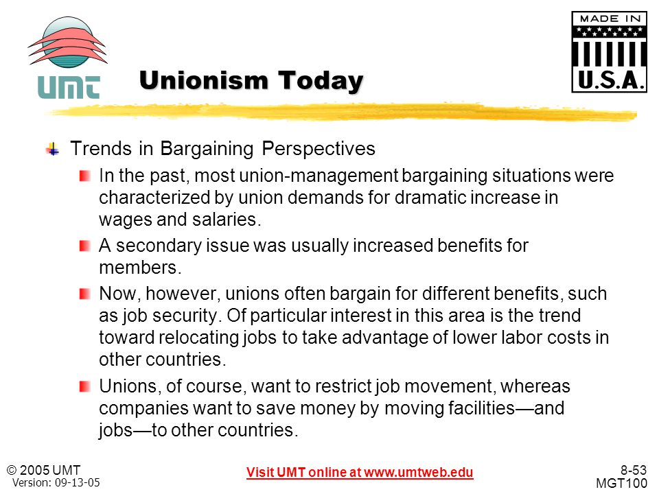 Unionism Today Trends in Bargaining Perspectives