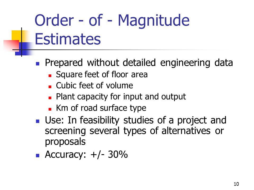 Order - of - Magnitude Estimates