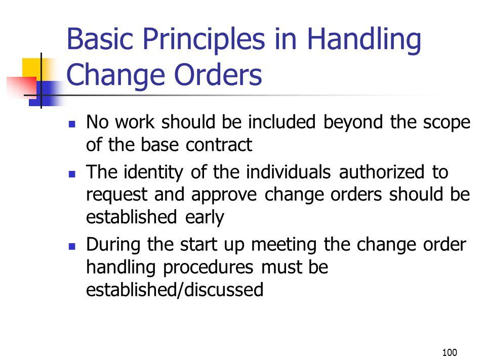 Basic Principles in Handling Change Orders