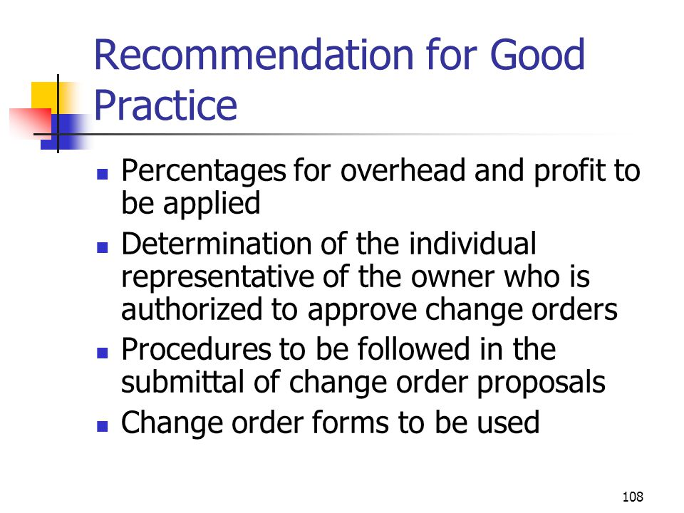 Recommendation for Good Practice