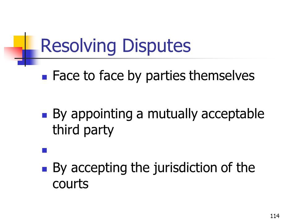 Resolving Disputes Face to face by parties themselves
