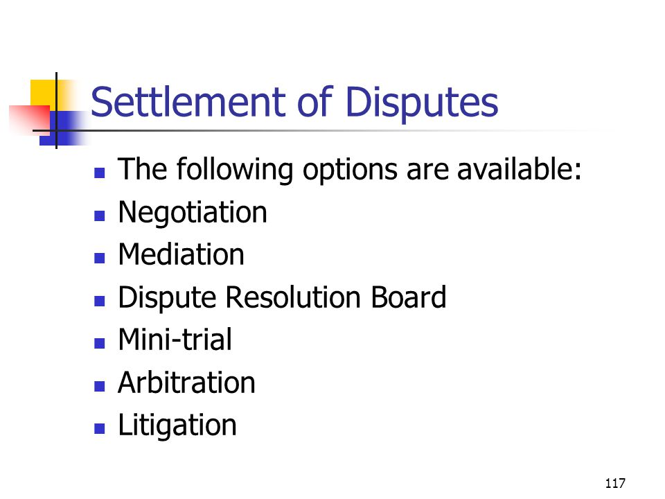 Settlement of Disputes