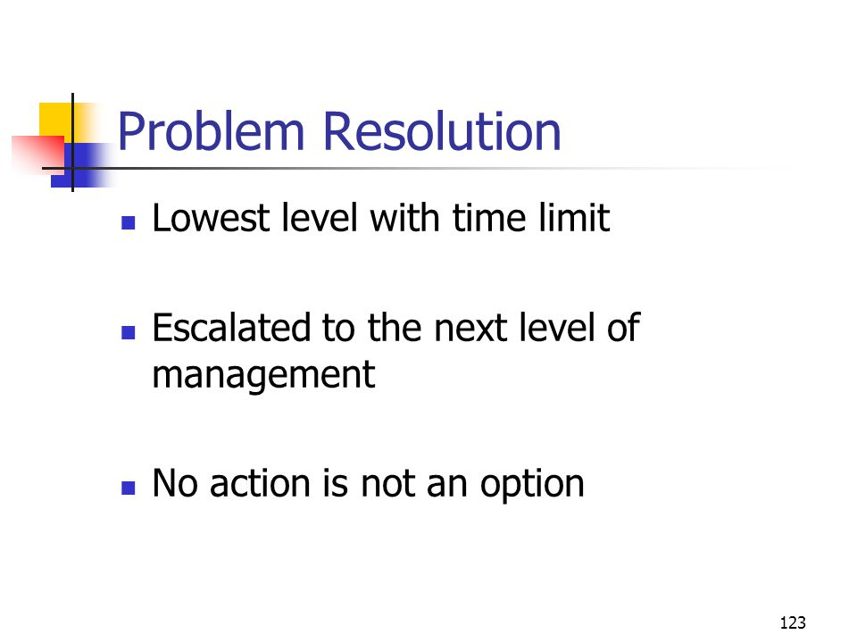 Problem Resolution Lowest level with time limit