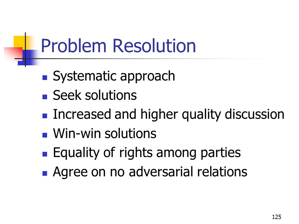 Problem Resolution Systematic approach Seek solutions