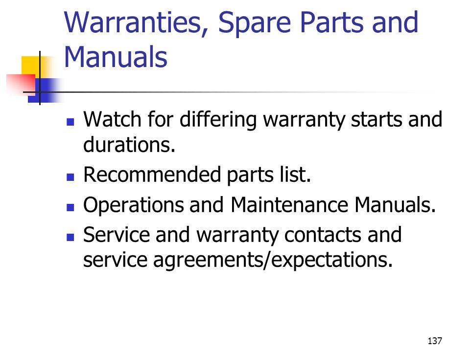 Warranties, Spare Parts and Manuals