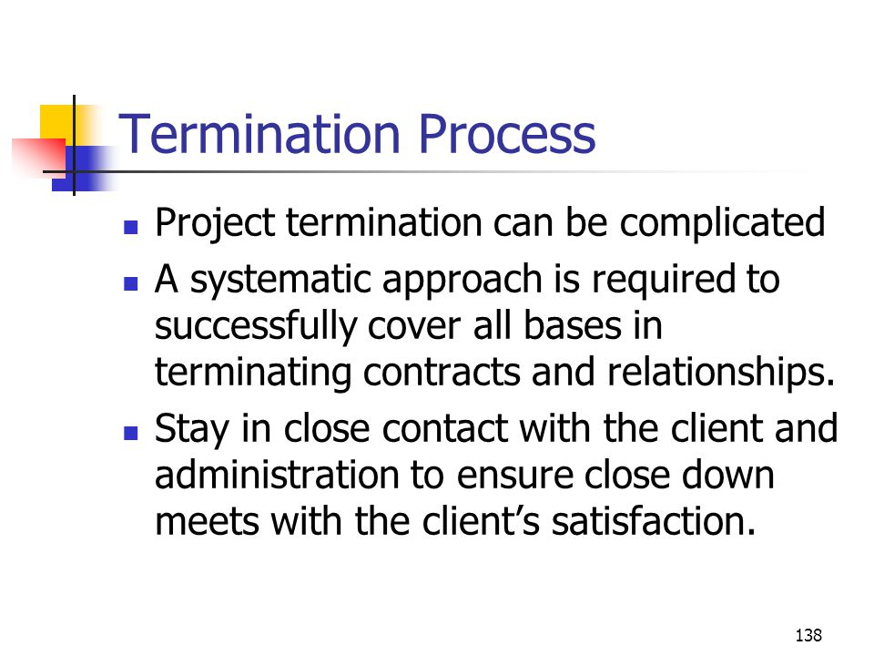 Termination Process Project termination can be complicated