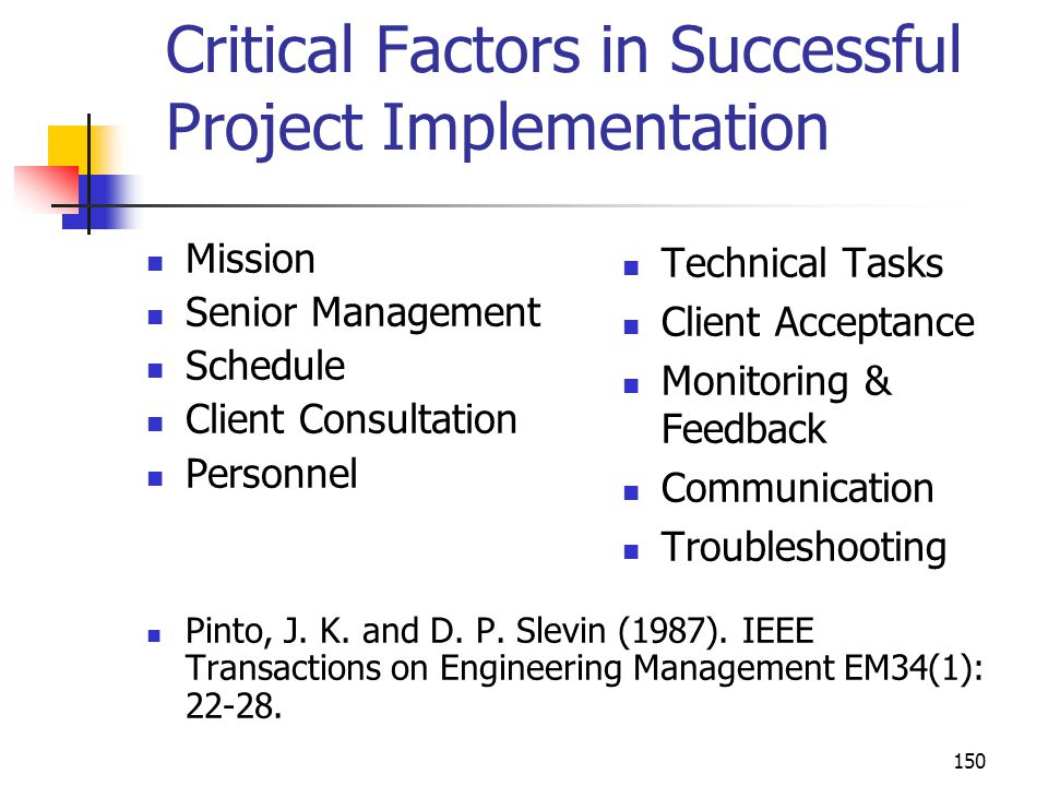 Critical Factors in Successful Project Implementation