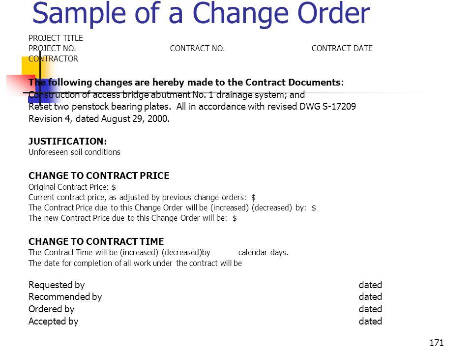 Sample of a Change Order