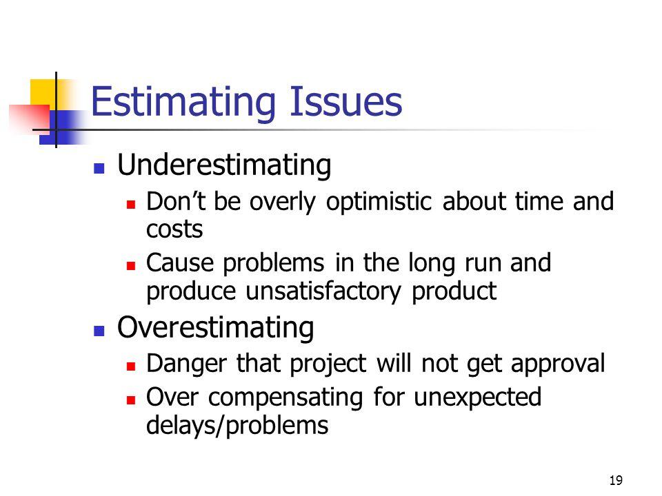 Estimating Issues Underestimating Overestimating