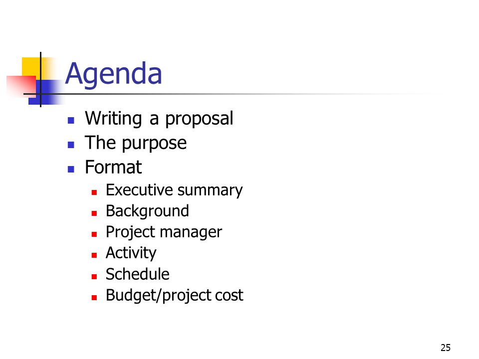 Agenda Writing a proposal The purpose Format Executive summary