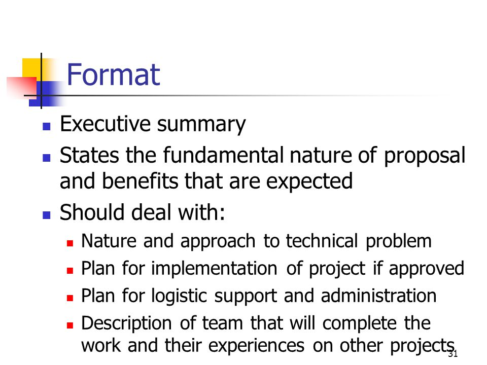 Format Executive summary