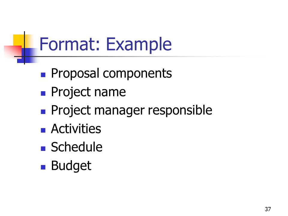 Format: Example Proposal components Project name