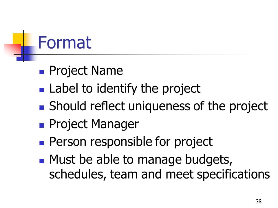 Format Project Name Label to identify the project